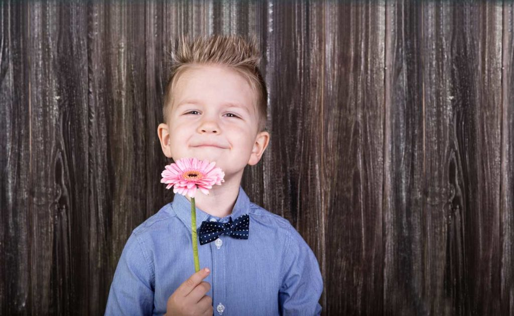 boy wearing a blue shirt and bowtie, holding a pink flower