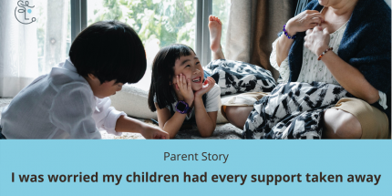 image showing two children and mother playing on bed. Caption says: Parent Story, I was worried my children lost all support.